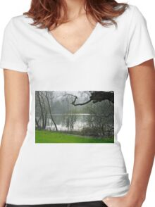 Pond near Home Farm, Ilam Women's Fitted V-Neck T-Shirt