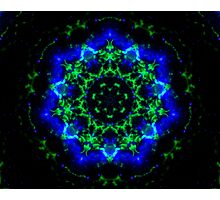 Green and Blue Glow Kaleidoscope Mandala Photographic Print