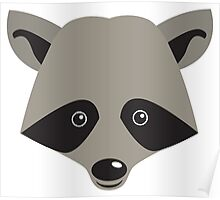 Super cute racoon face Poster