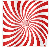 Red spiral ray pattern Poster