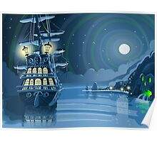 Nocturnal Adventure Island with Pirate Galleon Anchored Poster