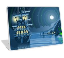 Nocturnal Adventure Island with Pirate Galleon Anchored Laptop Skin