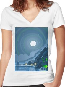 Nocturnal Adventure Island with Pirate Galleon Anchored Women's Fitted V-Neck T-Shirt