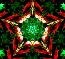 Orange and Green Star Kaleidoscope Mandala Sticker