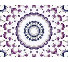 Purple Crystal Kaleidoscope Mandala Photographic Print