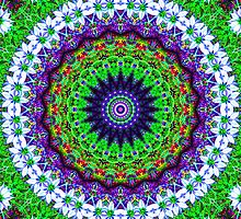 Multicoloured Floral Kaleidoscope Mandala by TigerLynx