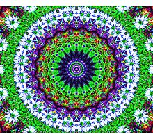 Multicoloured Floral Kaleidoscope Mandala Photographic Print