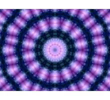 Glowing Blue and Pink Kaleidoscope Mandala Photographic Print