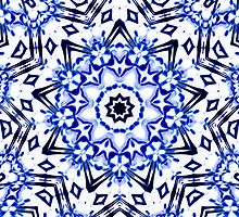 White and Blue Kaleidoscope Mandala by TigerLynx