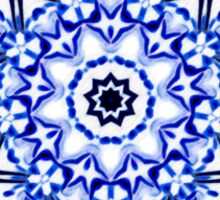 White and Blue Kaleidoscope Mandala Sticker