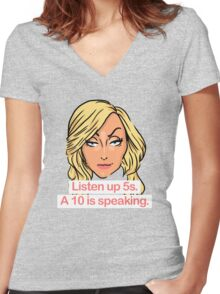 Listen up 5s, a 10 is speaking Women's Fitted V-Neck T-Shirt