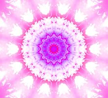 Pink and White Snowy Kaleidoscope Mandala by TigerLynx