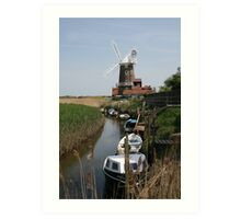 River Glaven and Cley Windmill  Art Print