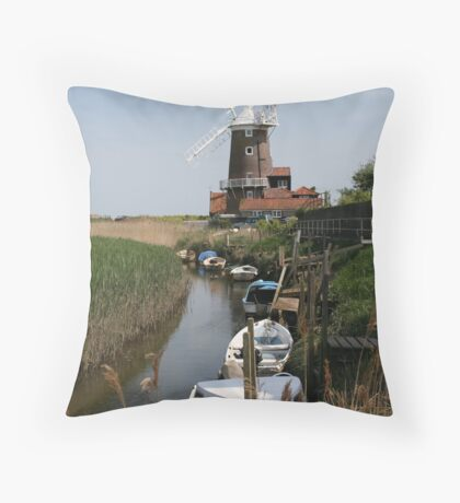 River Glaven and Cley Windmill  Throw Pillow