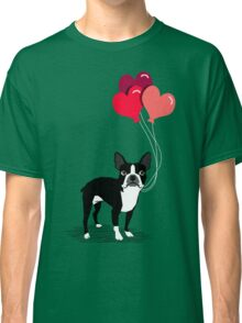 Boston Terrier Valentines Love Balloons gifts for dog lovers pet owners dog breeds customizable Classic T-Shirt