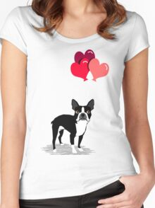 Boston Terrier Valentines Love Balloons gifts for dog lovers pet owners dog breeds customizable Women's Fitted Scoop T-Shirt