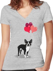 Boston Terrier Valentines Love Balloons gifts for dog lovers pet owners dog breeds customizable Women's Fitted V-Neck T-Shirt
