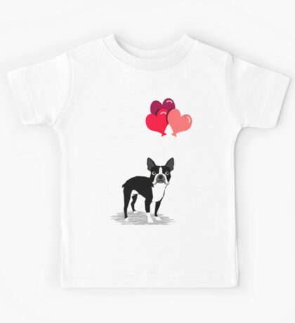 Boston Terrier Valentines Love Balloons gifts for dog lovers pet owners dog breeds customizable Kids Tee