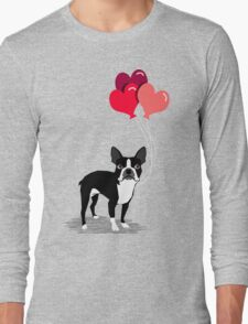 Boston Terrier Valentines Love Balloons gifts for dog lovers pet owners dog breeds customizable Long Sleeve T-Shirt