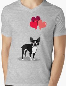 Boston Terrier Valentines Love Balloons gifts for dog lovers pet owners dog breeds customizable Mens V-Neck T-Shirt
