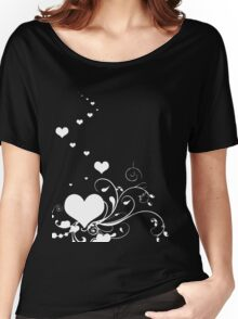 White Valentine Hearts On Red Background Women's Relaxed Fit T-Shirt