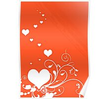 White Valentine Hearts On Red Background Poster