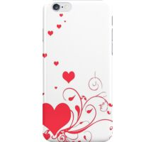 Red Valentine Hearts on A White Background iPhone Case/Skin
