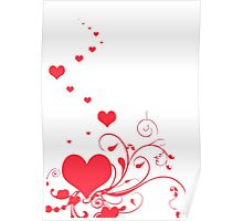 Red Valentine Hearts on A White Background Poster