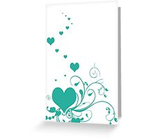 Aquamarine Valentine Hearts On A White Background Greeting Card