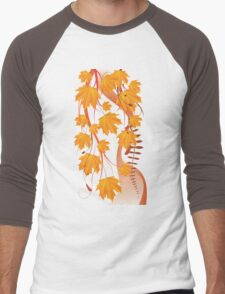 Autumn floral ornament with orange maple leaves 4 Men's Baseball ¾ T-Shirt