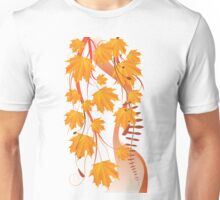 Autumn floral ornament with orange maple leaves 4 Unisex T-Shirt