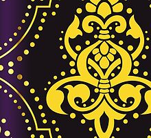 Royal Damask, Ornaments, Swirls - Purple Yellow by sitnica