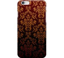 Victorian Damask, Ornaments, Swirls - Red Yellow iPhone Case/Skin