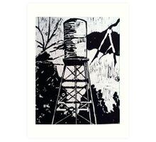 Water Tower Mono Print Art Print