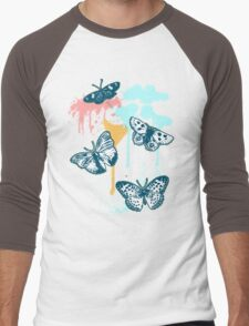 Graphic Butterflies on Drippy Background Men's Baseball ¾ T-Shirt
