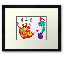 Color footprint and handprint Framed Print