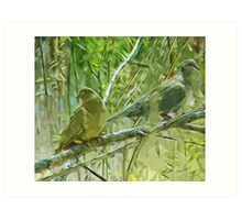 Mourning Doves at Sunrise Abstract Impressionism Art Print