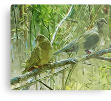 Mourning Doves at Sunrise Abstract Impressionism Metal Print