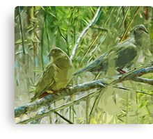 Mourning Doves at Sunrise Abstract Impressionism Canvas Print