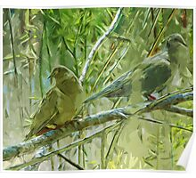 Mourning Doves at Sunrise Abstract Impressionism Poster