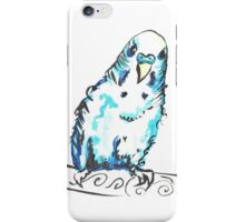Blue watercolour budgie iPhone Case/Skin