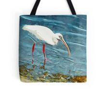 White Ibus at Shoreline Abstract Impressionism Tote Bag