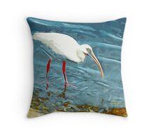 White Ibus at Shoreline Abstract Impressionism Throw Pillow