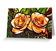 Peach Roses Flowers Greeting Card