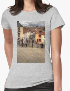 View from the Whitby Steps Womens Fitted T-Shirt