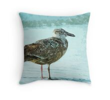 Herring Gull on the Beach Abstract Impressionism Throw Pillow