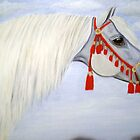 Arab stallion with headress horse portrait oil painting by coolart