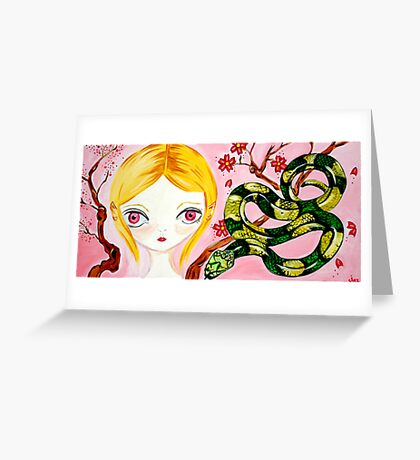 Cherry Blossom Snake Lovin Pixie Greeting Card
