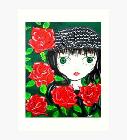 Rose Pirate Girl Art Print
