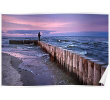 Sunset fishing on breakwater Poster
